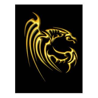 Metallic Gold Dragon Postcard