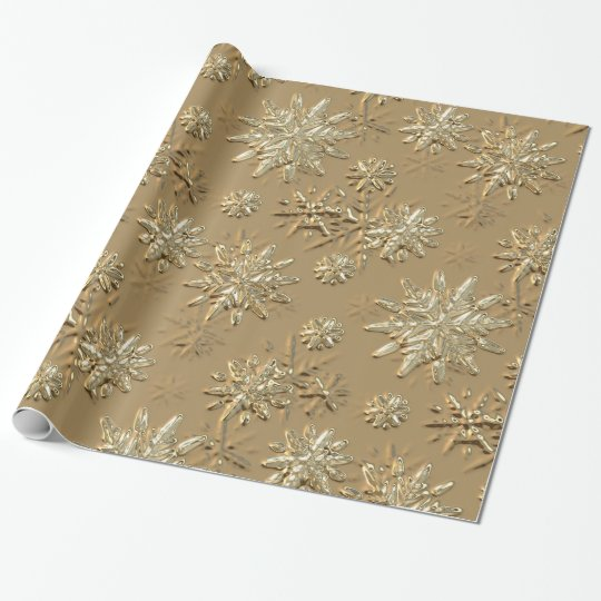 metallic gold effect snowflake wrapping paper zazzlecom