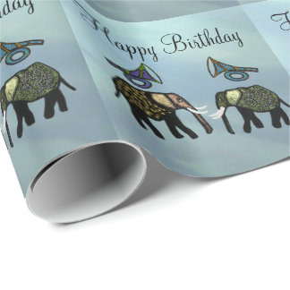 Metallic Gold Elephants Wrapping Paper