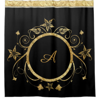 Metallic Gold Facets of Floral Circle on Black Shower Curtain