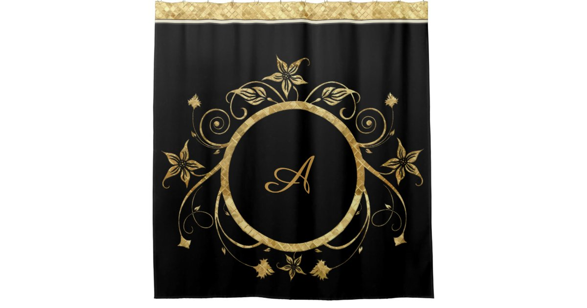 Metallic Gold Facets of Floral Circle on Black Shower Curtain ...