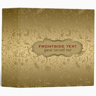 Metallic Gold Floral Fabric Pattern 3 Ring Binder