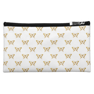 Metallic Gold Foil Butterflies on White Makeup Bag