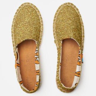 Metallic Gold Glitter Image Pattern, ZEA Espadrilles