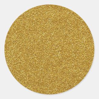 Metallic gold glitter texture classic round sticker