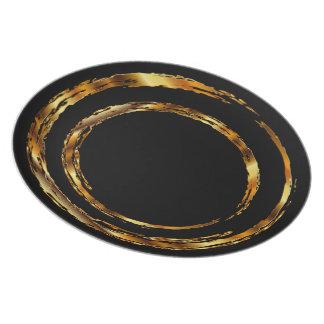 Metallic Gold Grunge Circle on Black Dinner Plate