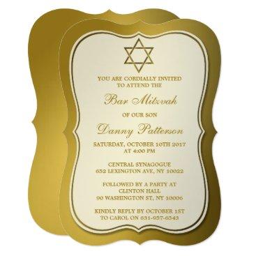 Beach Themed Metallic Gold Jewish Star Of David Bar Mitzvah Card