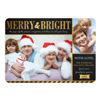 Metallic Gold Merry and Bright Holiday Card Custom Announcements