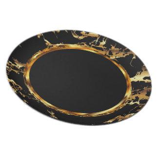 Metallic Gold on Black - Marble Design Plate