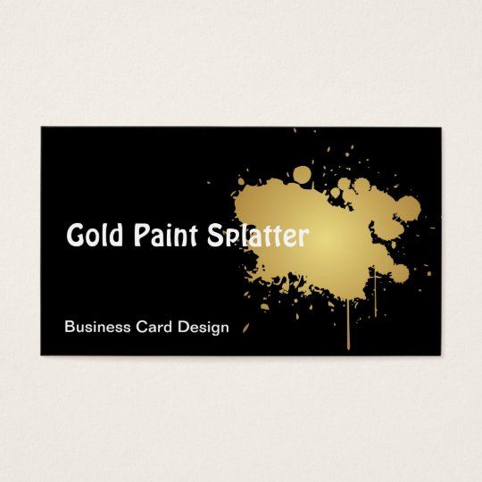 Metallic Gold Paint Splatter Business Card