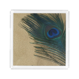 Metallic Gold Peacock Feather Acrylic Tray
