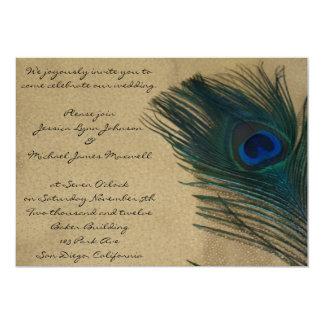 "Metallic Gold Peacock Wedding 5"" X 7"" Invitation Card"