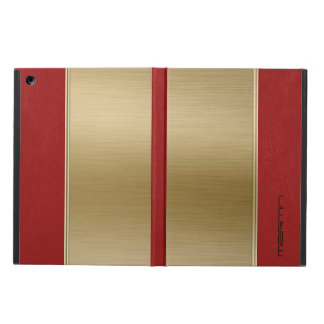 Metallic Gold & Red Leather Texture Cover For iPad Air