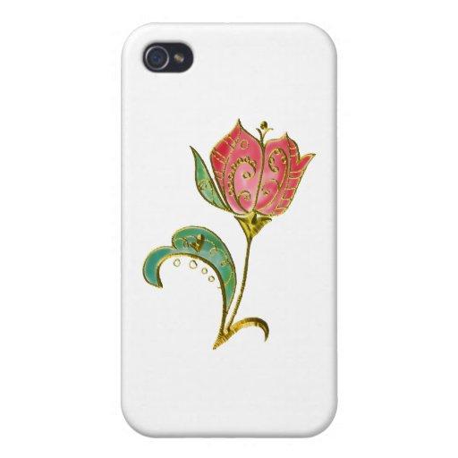 Metallic Gold Scrollwork Tulip iPhone 4 Cases
