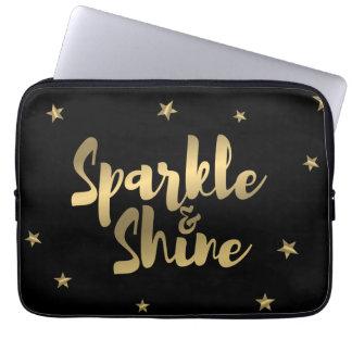 Metallic Gold Sparkle & Shine stars laptop sleeve