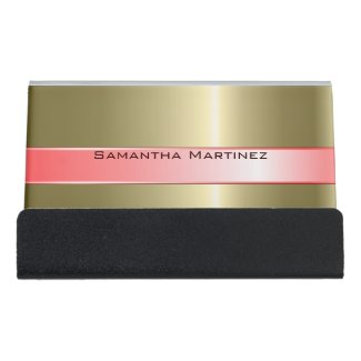 Metallic Gold Stainless Steel And Pink Desk Business Card Holder