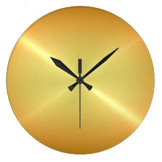Metallic Gold Stainless Steel Metal Look Round Clock