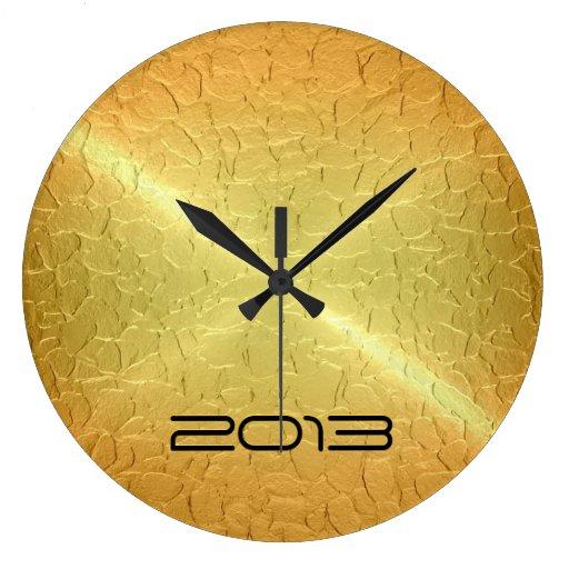 metallic gold stainless steel metal wall clock zazzle