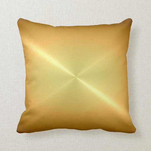 Metallic Gold Steel Metal Look Throw Pillows Zazzle