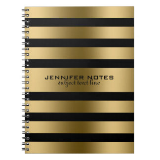 Metallic Gold Stripes Black Background Spiral Note Book