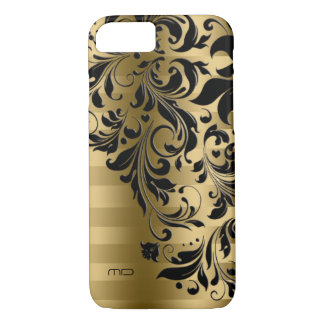 Metallic Gold Stripes Pattern & Black Lace iPhone 8/7 Case