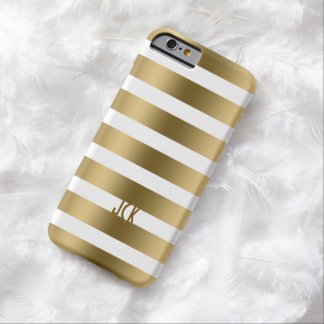 Metallic Gold Stripes White Background 2 Barely There iPhone 6 Case