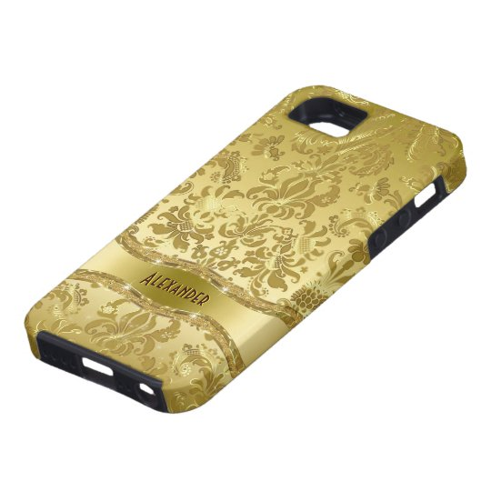 Metallic Gold Tones Vintage Floral Damasks iPhone SE/5/5s Case