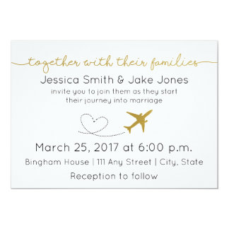 Metallic Gold, Travel Themed Wedding Invite