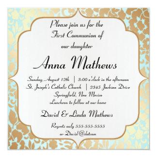 "Metallic Golden Aqua Floral First Communion 5.25"" Square Invitation Card"