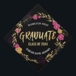 "Metallic Golden Pink Floral wreath Graduate year Graduation Cap Topper<br><div class=""desc"">Metallic Golden Pink Floral wreath Graduate year,  calligraphic gold foil text editable template that you can customize with your class year and name. This lovely wreath encircling text will make you / your class stand out from the rest on the convocation day!</div>"