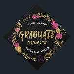 """Metallic Golden Pink Floral wreath Graduate year Graduation Cap Topper<br><div class=""""desc"""">Metallic Golden Pink Floral wreath Graduate year,  calligraphic gold foil text editable template that you can customize with your class year and name. This lovely wreath encircling text will make you / your class stand out from the rest on the convocation day!</div>"""
