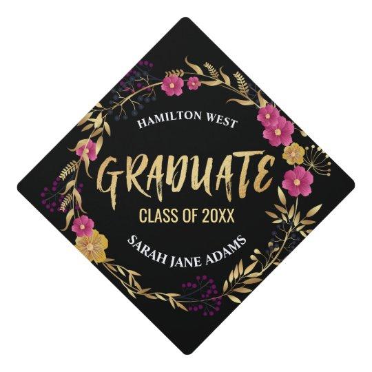 metallic golden pink floral wreath graduate year graduation cap