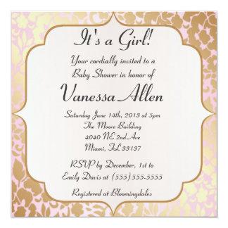 "Metallic Golden Rose Pink Baby Shower Invitation 5.25"" Square Invitation Card"
