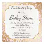 Metallic Golden Rose Pink Bachelorette Party 5.25x5.25 Square Paper Invitation Card