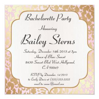 Metallic Golden Rose Pink Bachelorette Party 5.25x5.25 Square Paper Invitation Card