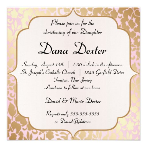 Metallic Golden Rose Pink Baptism Invitation