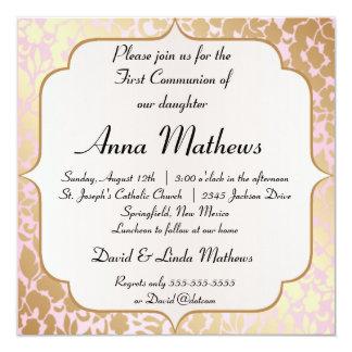 "Metallic Golden Rose Pink First Communion Invite 5.25"" Square Invitation Card"