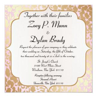 Metallic Golden Rose Pink Wedding Invitation