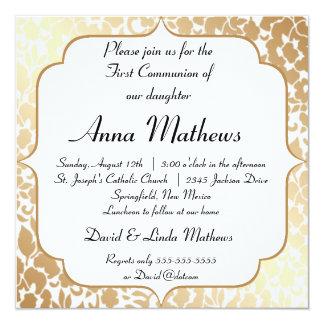 Metallic Golden White Floral First Communion Card