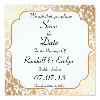 Metallic Golden White Floral Save The Date Notice Card