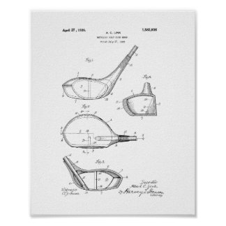 Metallic Golf-club Head Patent Poster