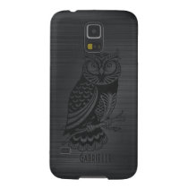 Metallic Gray Brushed Aluminum & Black Owl Case For Galaxy S5