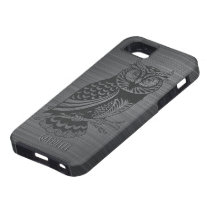 Metallic Gray Brushed Aluminum & Black Owl iPhone SE/5/5s Case