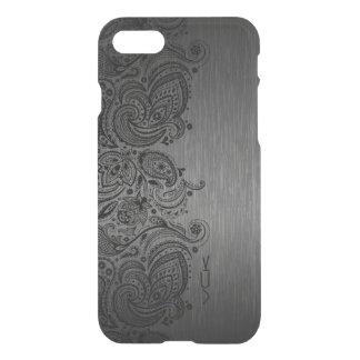 Metallic Gray Brushed Aluminum Black Paisley Lace iPhone 8/7 Case