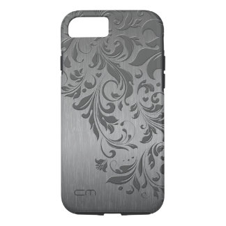 Metallic Gray Brushed Aluminum & Gray Floral Lace iPhone 7 Case