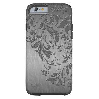 Metallic Gray Brushed Aluminum & Gray Floral Lace Tough iPhone 6 Case