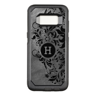 Metallic Gray Brushed Steel & Black Lace OtterBox Commuter Samsung Galaxy S8 Case