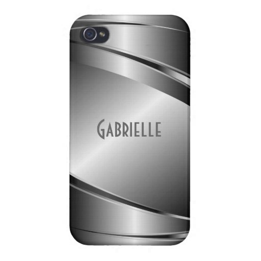 Metallic Gray Stainless Steel Look Covers For iPhone 4