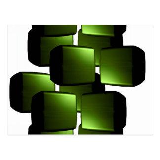 Metallic Green 3D Boxes Postcard
