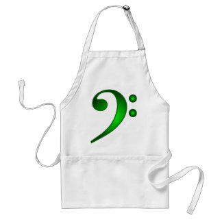 Metallic Green Bass Clef Adult Apron